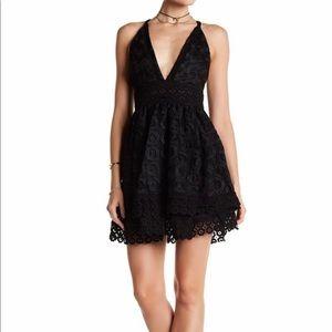 Lovers+Friends Black Crochet Lace Crossback Dress
